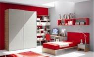 Kırmızı Ve Beyaz Renkte Genç Odası
