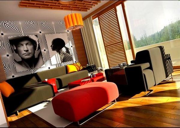 modern duvar dekorasyonlu oda renkli benzersiz sevimli lüks oturma odası fikirleri
