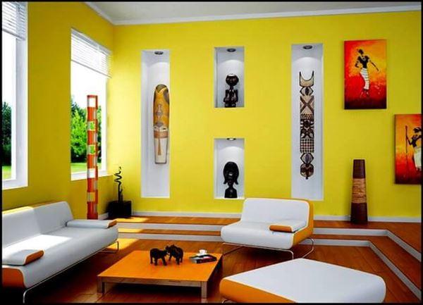 sarı nişli duvar dekorasyon renkli benzersiz sevimli lüks oturma odası fikirleri