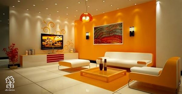 turuncu renk misafir odası dekorasyon