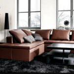deri köşe koltuk modeli yeni trend modern oturma odası fikirleri