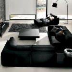 siyah köşe koltuk takımı yeni trend modern oturma odası fikirleri