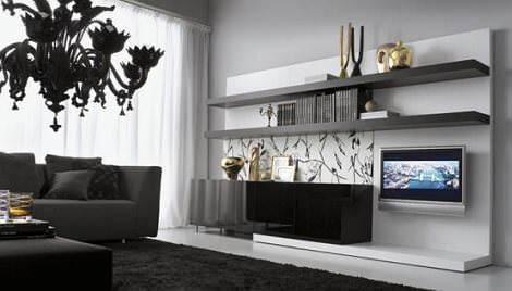siyah raflı tv ünite modeli