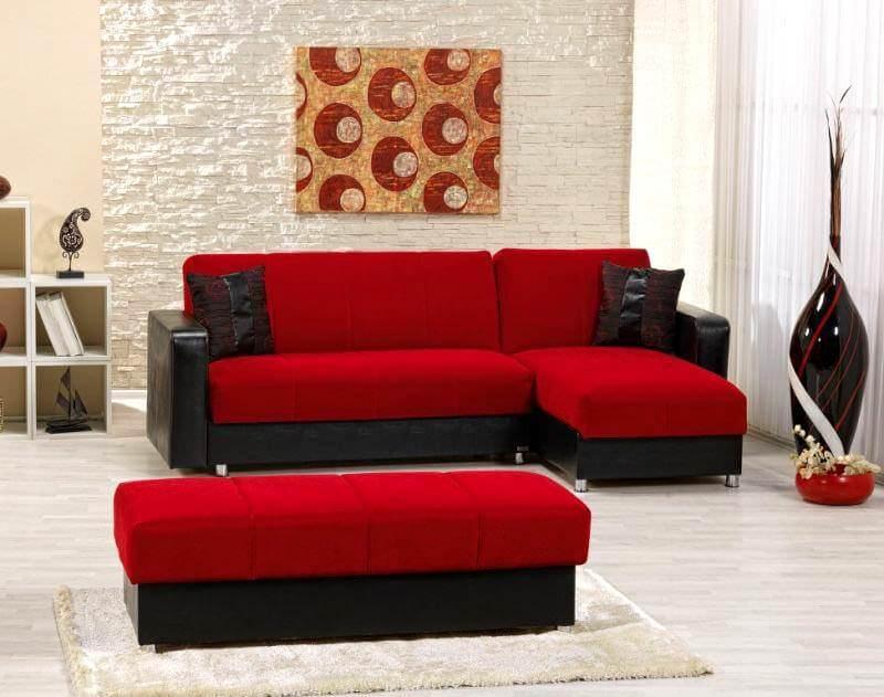 kırmızı köşe koltuk puflu köşe koltuk modelleri