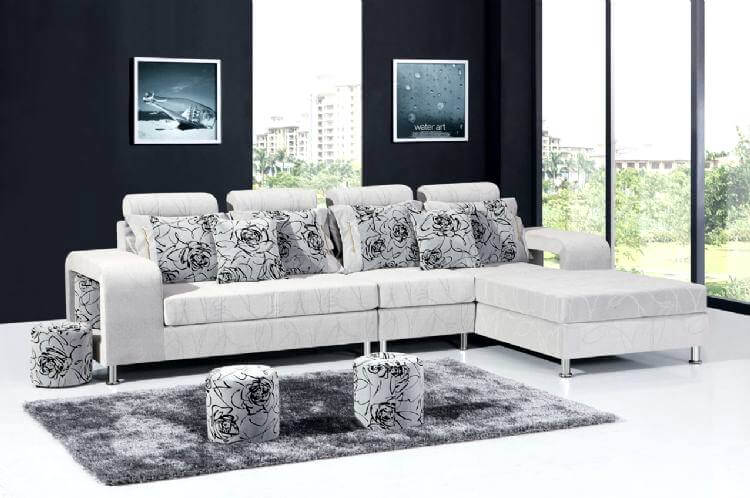 krem lüks köşe koltuk tasarımı puflu köşe koltuk modelleri