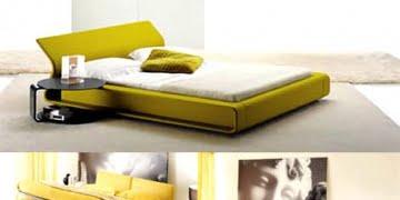 yatak odası modern sarı yatak