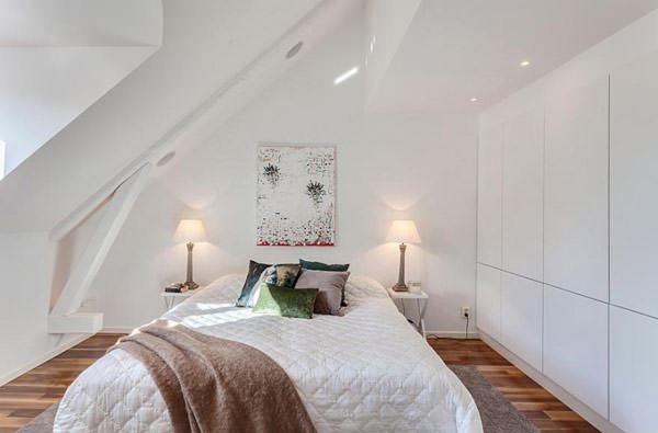 çatı katı yatak odası dekorasyon