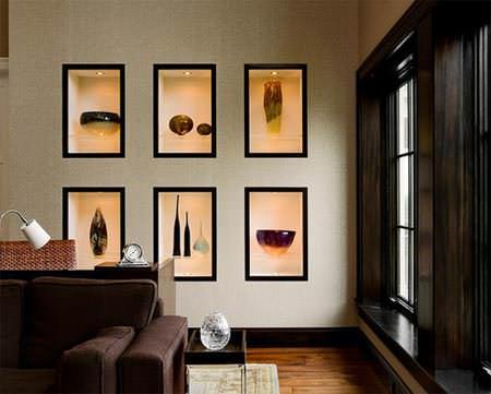 duvar süsleri için girintili raf modelleri