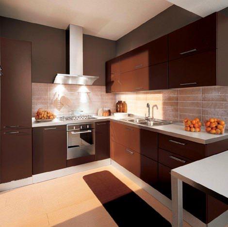 kahve rengi mutfak