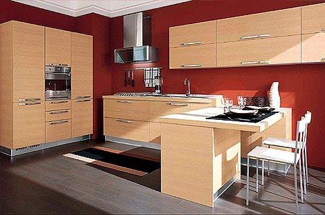 meşe rengi modern mutfak