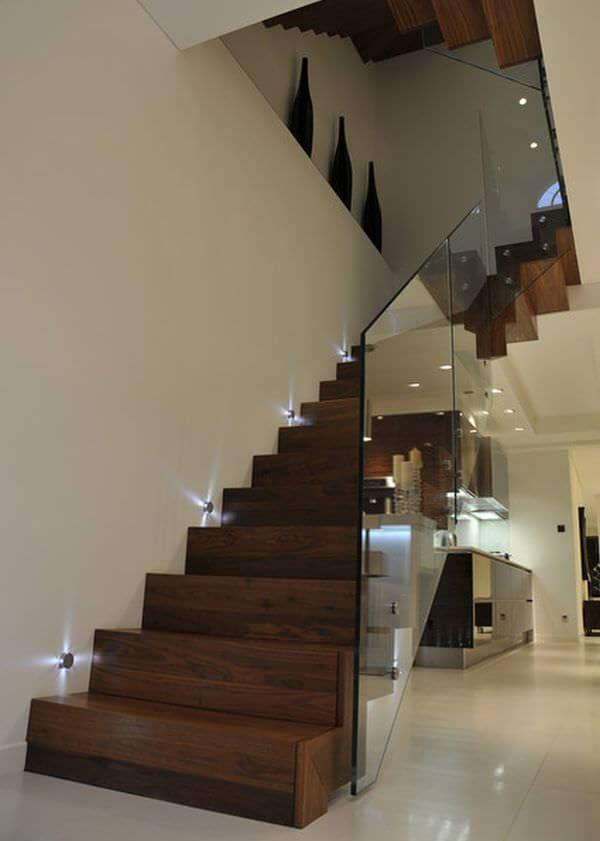lüks dubleks daire merdiven aydınlatma