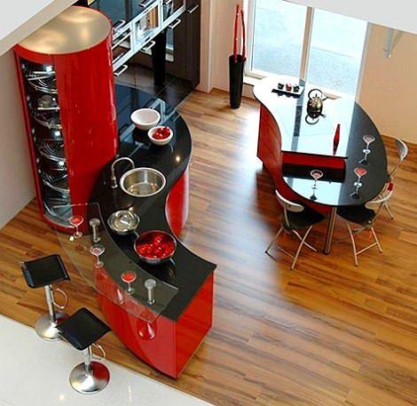oval kırmızı mutfak