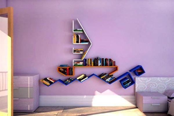 Değişik Tasarımlarda Renkli Duvar Raf Modelleri