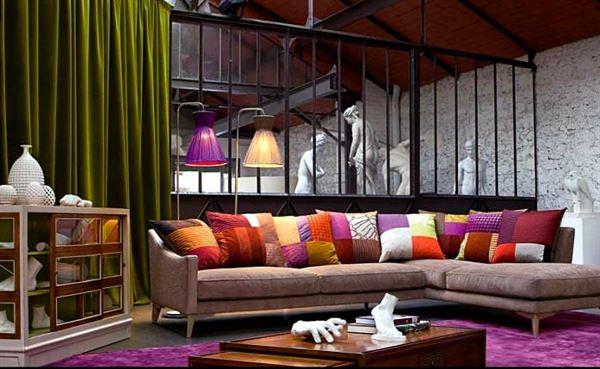 yeni tasarım modern koltuk takımı fikirleri - renkli yastikli kose koltuk - Yeni Tasarım Modern Koltuk Takımı Fikirleri