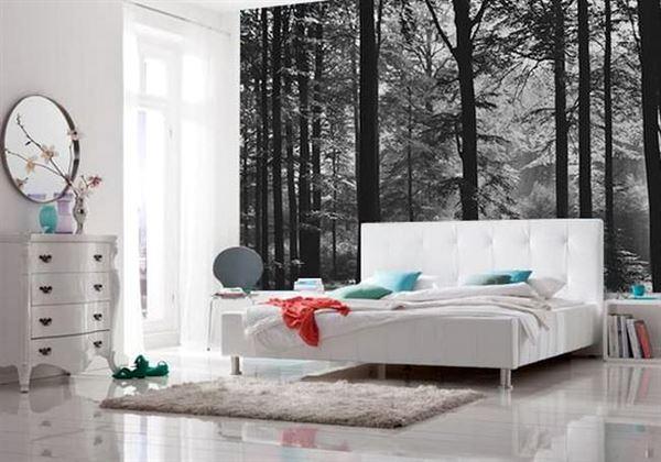 Modern Renkli Ve Desenli Yatak Odası Duvar Kağıtları desenli yatak odası duvar kağıtları - yatak odasi agac manzarali duvar kagitlari - Modern Renkli Ve Desenli Yatak Odası Duvar Kağıtları
