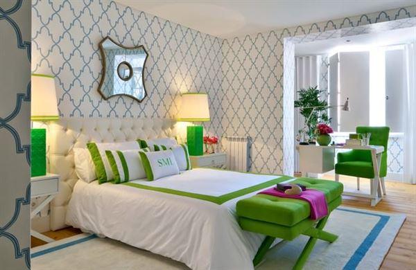 Modern Renkli Ve Desenli Yatak Odası Duvar Kağıtları desenli yatak odası duvar kağıtları - yatak odasi krem desenli duvar kagit - Modern Renkli Ve Desenli Yatak Odası Duvar Kağıtları