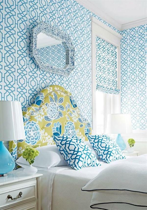 Modern Renkli Ve Desenli Yatak Odası Duvar Kağıtları desenli yatak odası duvar kağıtları - yatak odasi mavi desenli duvar kagitlar - Modern Renkli Ve Desenli Yatak Odası Duvar Kağıtları