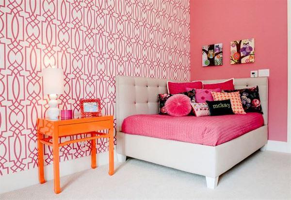 Modern Renkli Ve Desenli Yatak Odası Duvar Kağıtları desenli yatak odası duvar kağıtları - yatak odasi pembe desenli 2014 duvar kagit - Modern Renkli Ve Desenli Yatak Odası Duvar Kağıtları