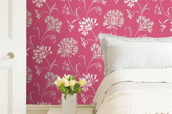Modern Renkli Ve Desenli Yatak Odası Duvar Kağıtları desenli yatak odası duvar kağıtları - yatak odasi pembe desenli duvar kagit - Modern Renkli Ve Desenli Yatak Odası Duvar Kağıtları