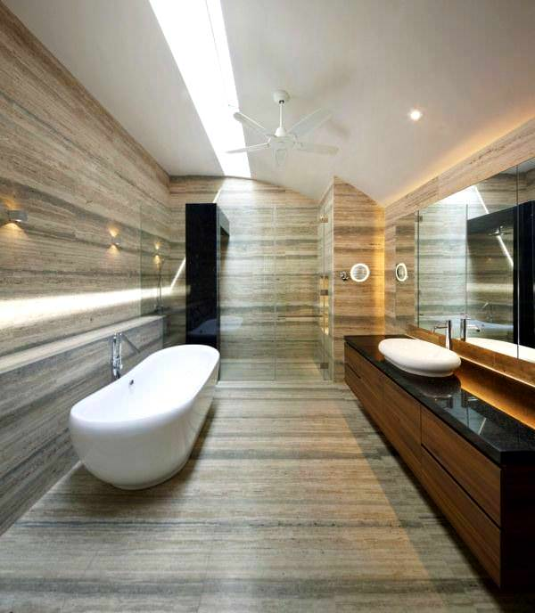 Geniş Modern Lüks Banyo Dekorasyon Modelleri 2