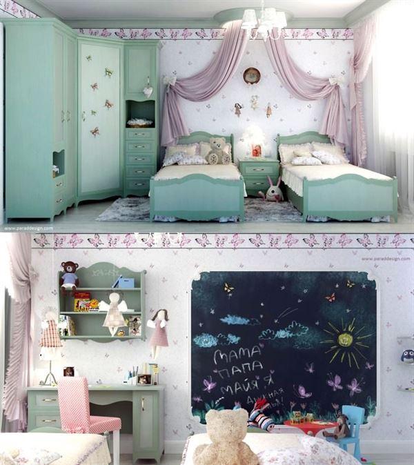 ikiz yataklı genç odası bebek ve genç odası - yesil ikiz yatakli genc odasi - Bebek Ve Genç Odası Dekorasyon Stilleri