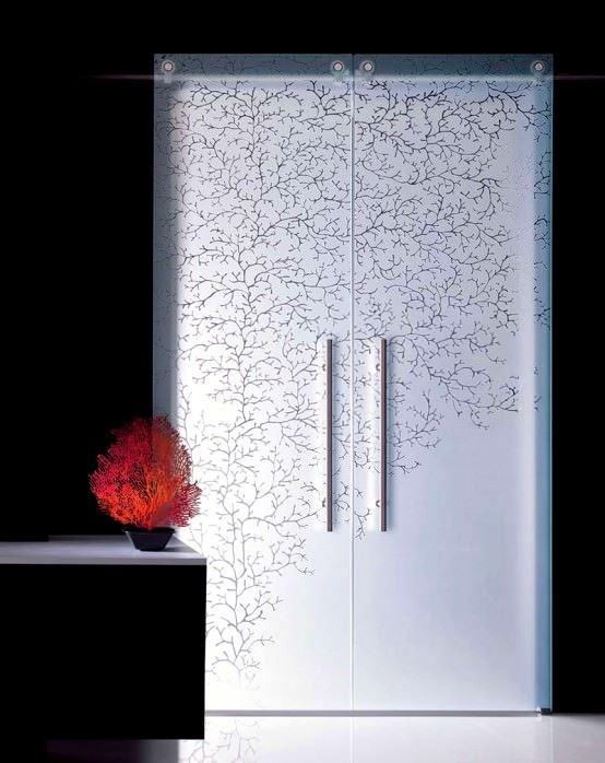 Desenli Ve Renkli Cam Kapı Modelleri 10