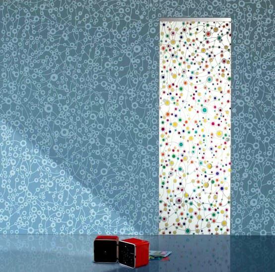 Desenli Ve Renkli Cam Kapı Modelleri 7