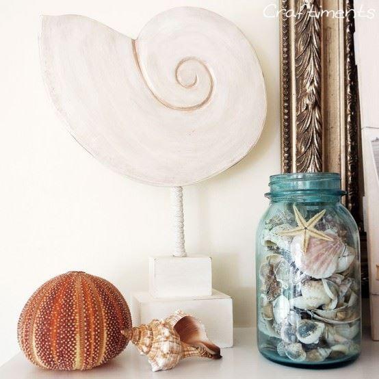 deniz-kabugundan-sus-esyasi-yapma deniz kabuğundan süsler - deniz kestanesi boyama - Deniz Kabuklarıyla Dekoratif Süsler Oluşturma Fikirleri