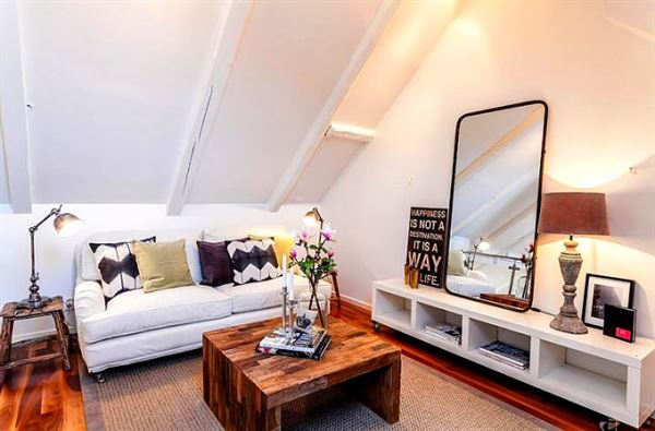 dubleks daire dekorasyonu - cati daire oturma odasi