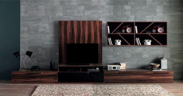 ceviz renkli tv ünite tasarımları