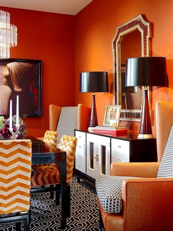 yaşam alanlarında turuncu renk kullanımı - oturma odasi turuncu dekorasyon 3