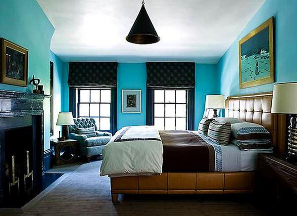 Turkuaz renkle oda renk kombinasyonları 25
