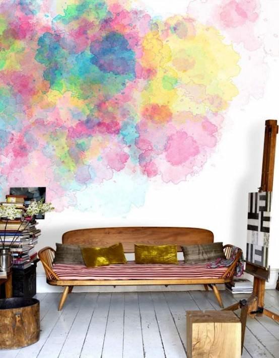 sulu boya desenli duvar boyası