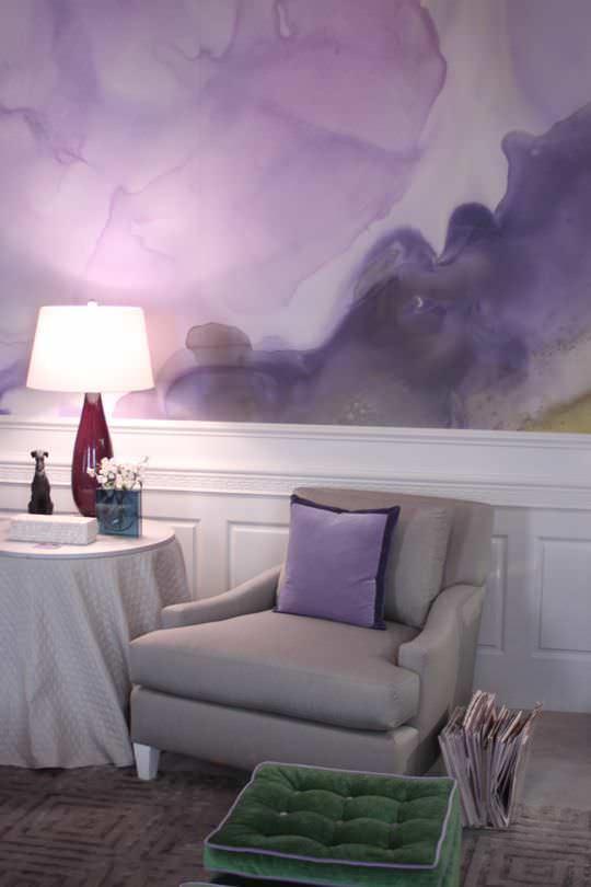 lila renk karışık desenli duvar boyası