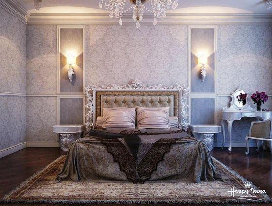 Gray-white-bedroom klasik avangard yatak odası