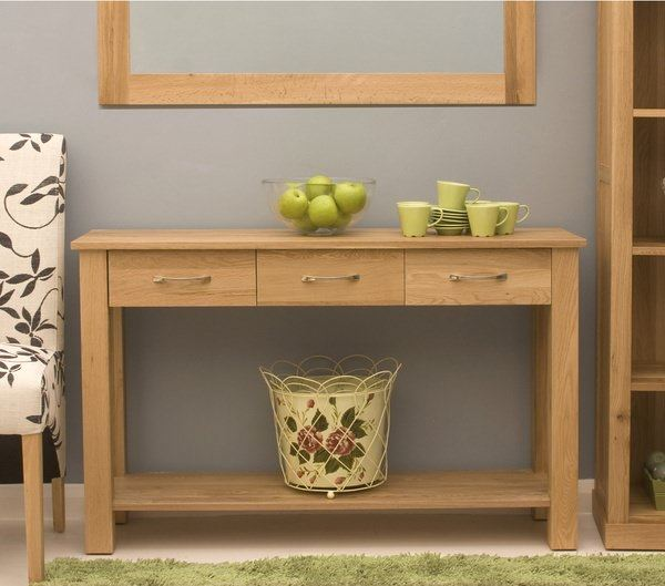 Maban-Solid-Oak-3-Drawer-Console-Table