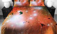 3D Resim Baskılı Uzay Temalı Yatak Örtüleri