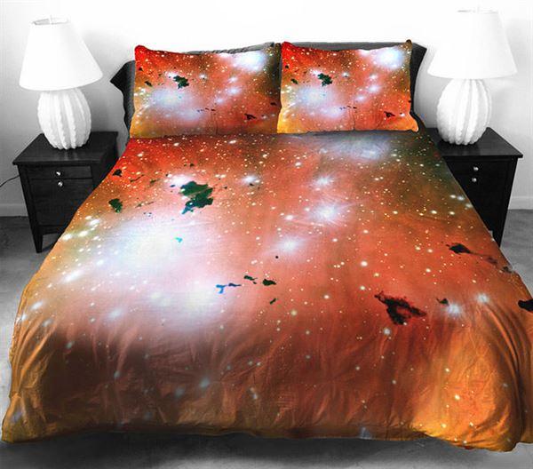 3D Resim Baskılı Uzay Temalı Yatak Örtüleri 3