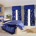 yatak odası perde modelleri - mavi cicekli yatak oda perdesi 150x150 - Yeni Tasarım Yatak Odası Perde Modelleri Ve Renkleri