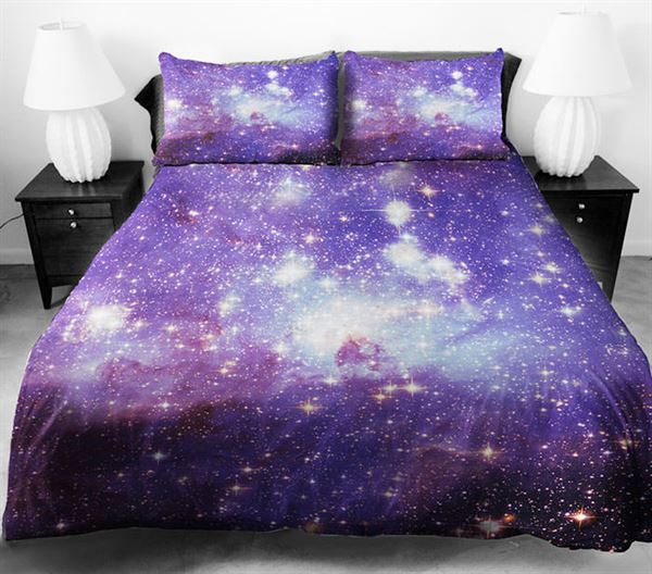 uzay baskılı yatak örtüsü