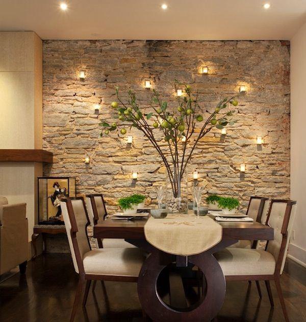 yemek odası duvar taş süsleme