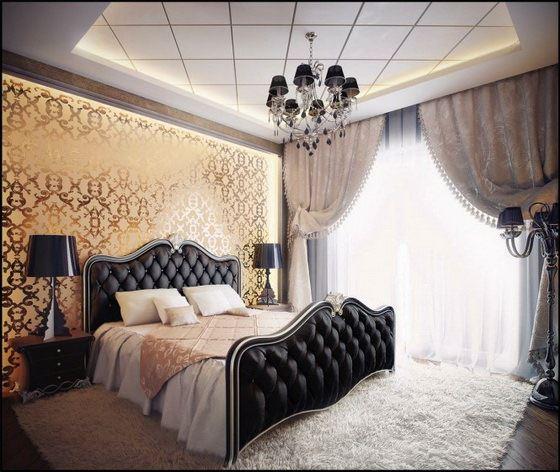 Black-gold-bedroom-design klasik avangard yatak odası