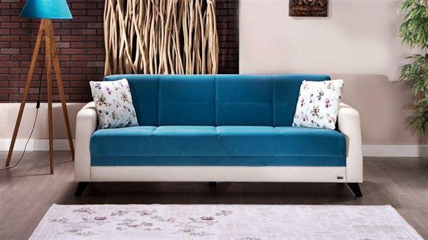 beyaz mavi kanepe