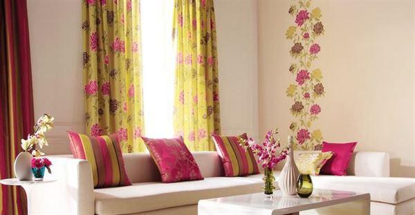 dekoratif oturma odası perde