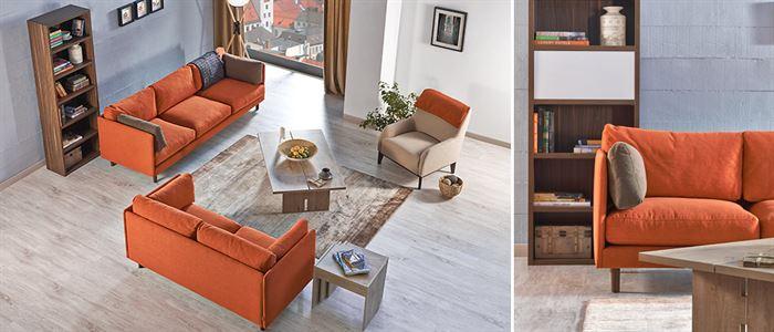 turuncu oturma odası koltuk takımı