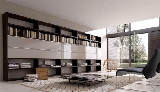 kitaplıklı tv ünite modelleri büyük kitaplıklı
