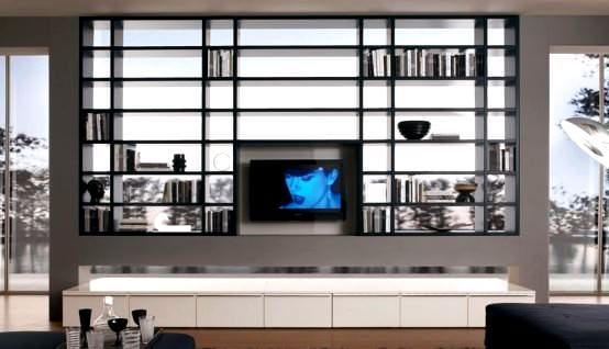 kitaplıklı tv ünite tasarımları büyük kitaplıklı