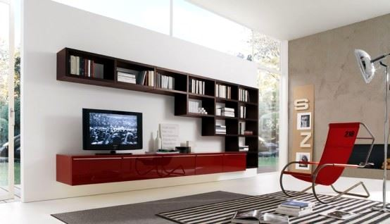 büyük raflı tv ünite modelleri büyük kitaplıklı
