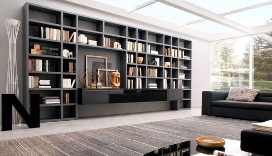 büyük tv ünite tasarımları büyük kitaplıklı