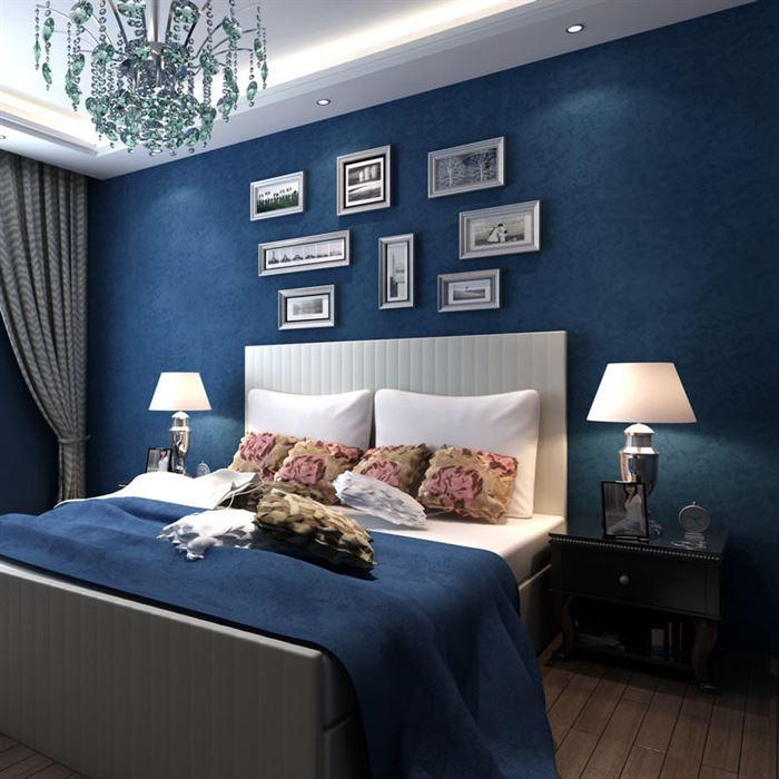 yatak odası duvarlarına dekoratif görünüm kazandırma - lacivert yatak odasi dekorasyonu - Yatak Odası Duvarlarına Dekoratif Görünüm Kazandırma